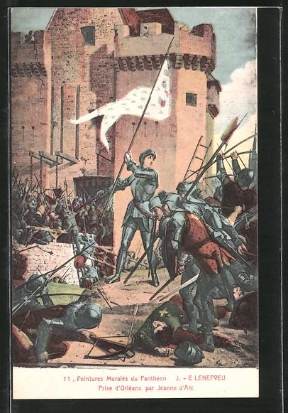 AK Jeanne d'Arc / Johanna von Orleans par Jeanne d'Arc, Peintures Murales du Pantheon