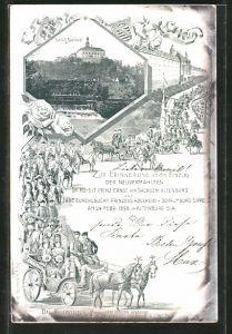 AK Altenburg, Einzug der Neruvermählten Ernst von von Sachsen-Altenburg und Adelheid von Schaumburg-Lippe 1898