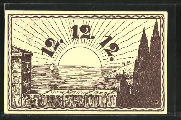 Künstler-AK Datum 12.12.12, Sonnenaufgang über dem Meer
