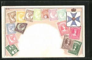 AK Briefmarken und Wappen von Queensland