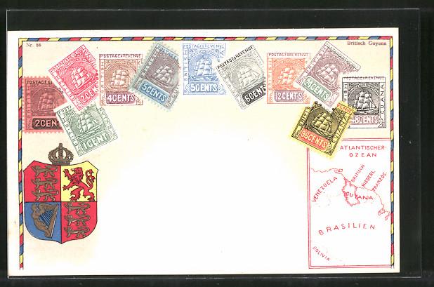 AK Briefmarken, Landkarte und Wappen von Britisch Guyana