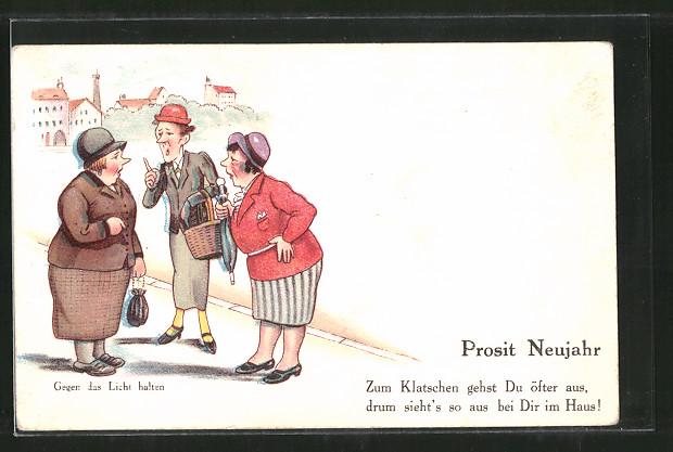 AK Halt gegen das Licht, Frauen beim Klatschen auf der Strasse, Neujahr