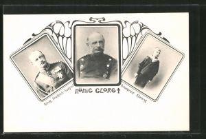 AK König Georg, König Friedrich August und Kronprinz Georg von Sachsen