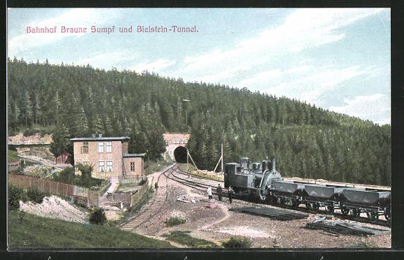 AK Bahnhof Braune Sumpf und Bielstein-Tunnel, Harz-Zahnrad-Bahn