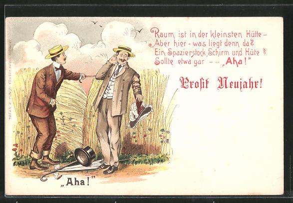Lithographie Prosit Naujahr!. Raum ist in der kleinsten Hütte..., Liebespaar im Kornfeld