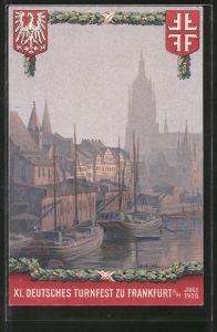 Künstler-AK Frankfurt, XI. Deutsches Turnfest 1908, Hafenpartie