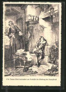 Künstler-AK Dampfkesselfabrik Uebigau, James Watt beobachtet am Teekessel die Wirkung der Dampfkraft