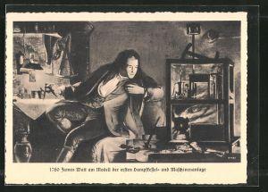 AK James Watt am Modell der ersten Dampfkessel- und Maschinenanlage