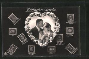 AK Briefmarkensprache, Liebespaar küsst sich, Herz, versch. Briefmarken