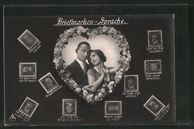 AK Briefmarkensprache, Liebespaar, Herz, versch. Briefmarken