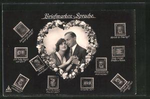 AK Briefmarkensprache, Liebespaar hält Händchen, Herz, versch. Briefmarken