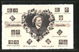 AK Briefmarkensprache, hübsche junge Dame, Herz