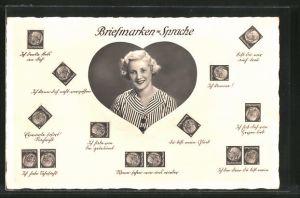 AK Briefmarkensprache, reizende junge Dame, Herz