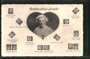 AK Briefmarkensprache, hübsche junge Frau, Herz