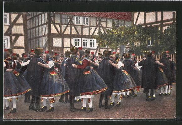 AK Hessische Trachten, Original Schwälmer Tanz in Ortschaft