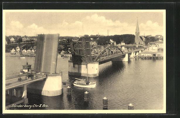 AK Sonderborg, Chr. X. Bro, an der Klappbrücke