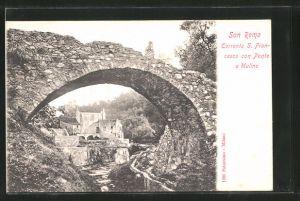 AK San Remo, Torrente S. Francesco con Ponte e Mulino