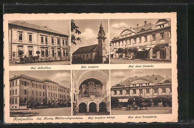AK Kisújszállás, Ref. templom, Ref. elemi fiúiskola, Ref. diákotthon