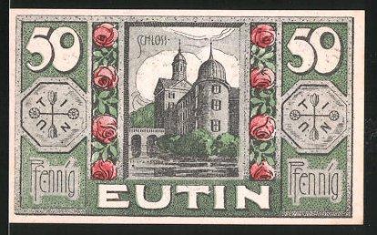 Notgeld Eutin 1920, 50 Pfennig, Schloss, Stadtwappen