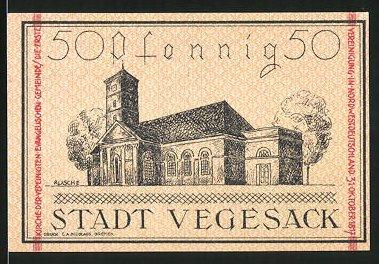 Notgeld Vegesack 1921, 50 Pfennig, Stadtwappen, Kirche