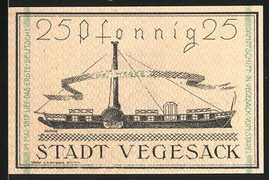 Notgeld Vegesack 1921, 25 Pfennig, Stadtwappen, Dampfer