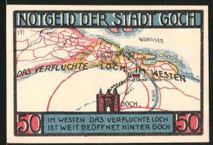 Notgeld Goch 1922, 50 Pfennig, Steintor, das verfluchte Loch im Westen, Landkarte