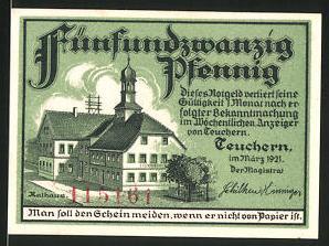Notgeld Teuchern 1921, 25 Pfennig, Rathaus, Stadtwappen
