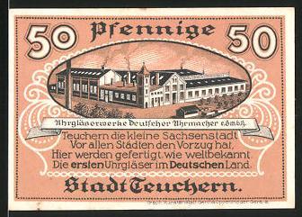 Notgeld Teuchern 1921, 50 Pfennig, Uhrengläserwerke, Stadtwappen