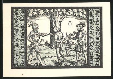 Notgeld Schalkau in Thüringen 1921, 50 Pfennig, Ritter mit Stadtwappen, Gefangener wird aufgehangen