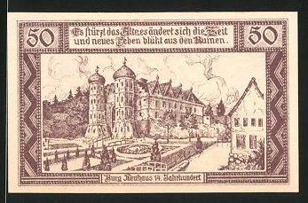 Notgeld Neuhaus an der Elbe 1921, 50 Pfennig, Burg Neuhaus