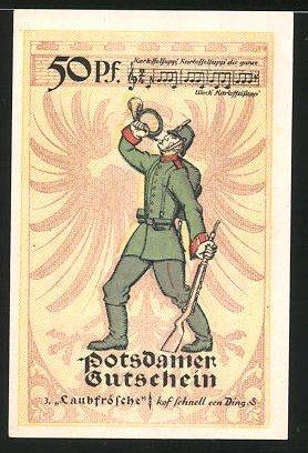 Notgeld Potsdam 1921, 50 Pfennig, Stadtwappen, Soldat bläst das Horn