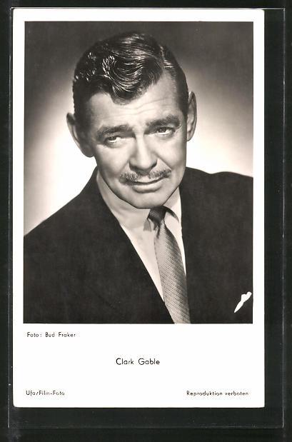 AK Schauspieler Clark Gable im Anzug porträtiert