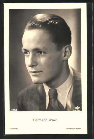 AK Schauspieler Hermann Braun im Anzug posierend