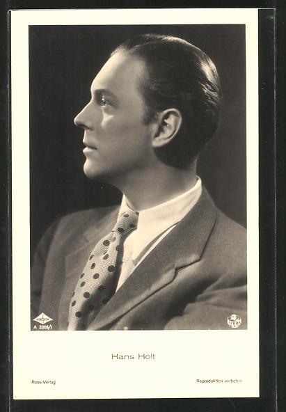 AK Schauspieler Hans Holz im Anzug porträtiert