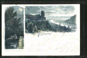 Mondschein-Lithographie Heidelberg, Partie aus dem Schlossgarten, Ortsansicht aus der Vogelschau