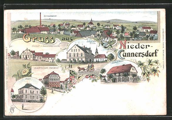 Lithographie Nieder-Cunnersdorf, Gasthof zum Gerichtskretscham, Post, Schule und Kirche