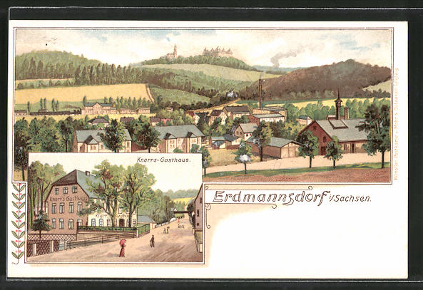 Lithographie Erdmannsdorf, Totalansicht, Knorrs-Gasthaus