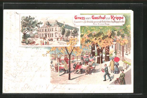 Lithographie Neukirchen, Front- und Gartenansicht des Gasthaus