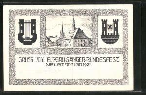 AK Neustadt, Elbgau-Sänger-Bundesfest 1921, Ortsansicht mit Harfe
