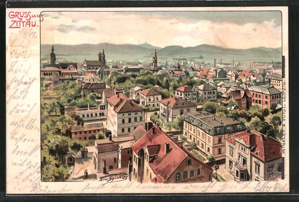 Künstler-AK Erwin Spindler: Zittau, Teilansicht der Stadt