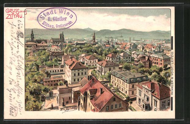 Künstler-AK Erwin Spindler: Zittau, Blick auf einen Teil der Stadt