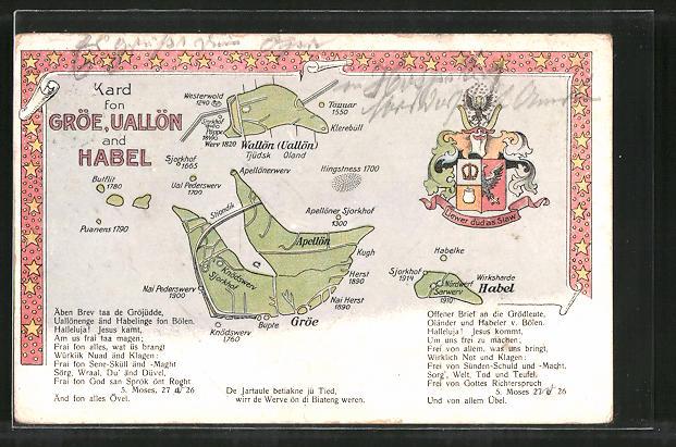 AK Gröde Hallig, Landkarte mit Halligen, Wappen, Gedicht 0