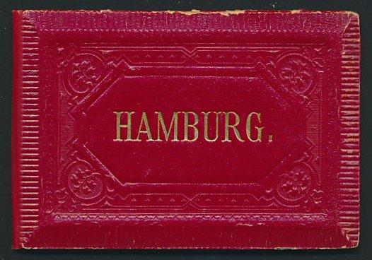 Leporello-Album Hamburg, mit 12 Lithographie-Ansichten, Hafen, Theater, Börse, Kunsthalle, Lombardsbrücke, Jungfernstieg