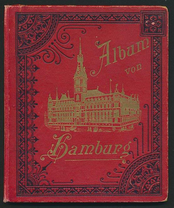 Leporello-Album Hamburg, mit 24 Lithographie-Ansichten, Dampfer Moltke, Hafen Postamt, Börse, Schauspielhaus, u.a.