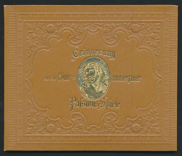 Leporello-Album Oberammergau, mit 12 Lithographie-Ansichten, Panorama des Ortes, Szenen d. Passionsspiele, Kloster Ettal