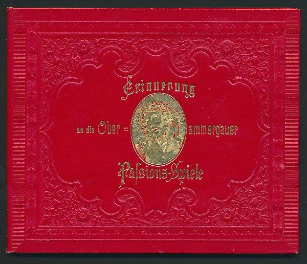 Leporello-Album Oberammergau, mit 12 Lithographie-Ansichten, Ortsansicht, Szenen der Passionsspiele, Kloster Ettal