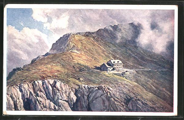 Künstler-AK Bruno Hess: Schiestlhaus, Berghütte auf dem Hochschwab