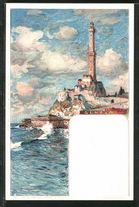 Künstler-AK Manuel Wielandt: Genova, Blick zum Leuchtturm