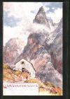 Künstler-AK Edward Theodore Compton: Wanderer an der Grasleiten-Hütte