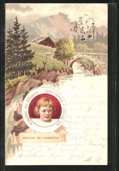 Lithographie Reklame, Nestle's Kindermehl, Kinderporträt, Brücke bei Champery